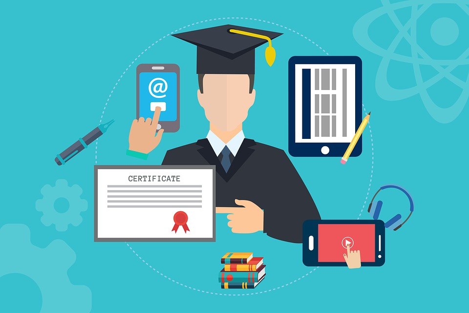 Picture of scholar with smart devices and certificate